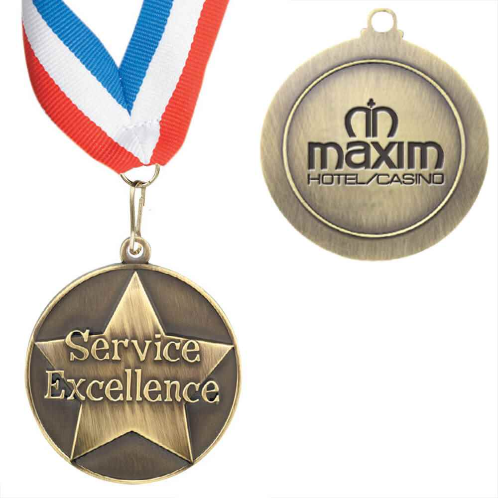 Service Excellence Staff Performance Medallion With Ribbon - Personalized