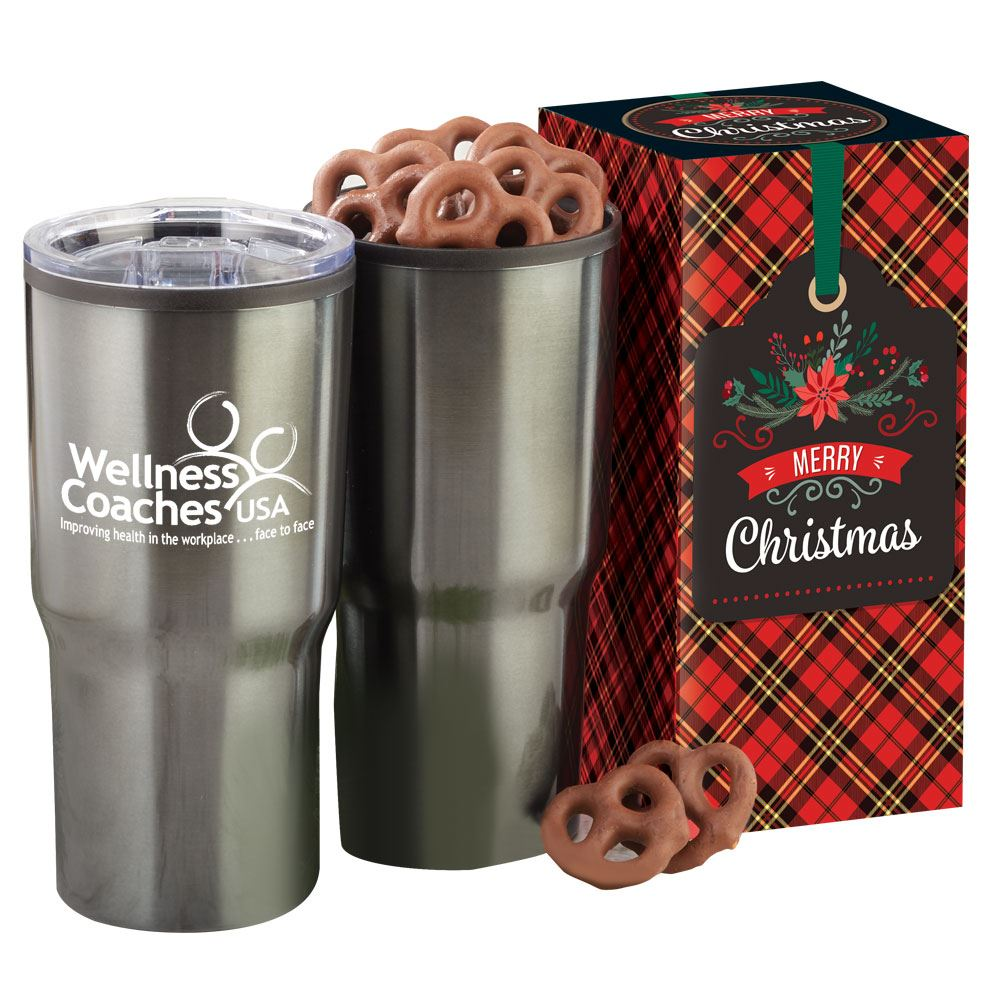 Merry Christmas Gift Box With Tumbler & Treats - Personalization Available