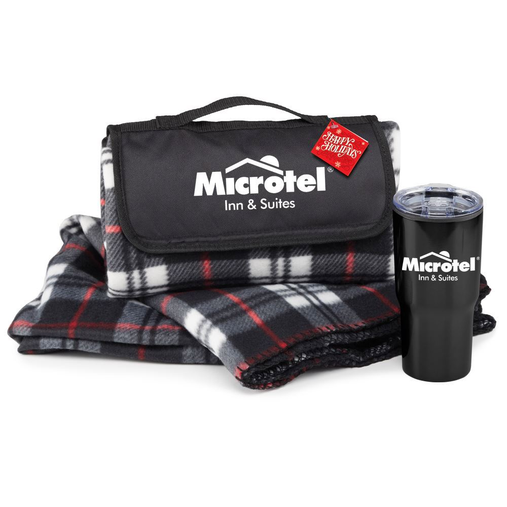 Plaid Fleece Blanket & Tumbler Gift Set with Holiday Gift Card & Sleeve - Personalization Available