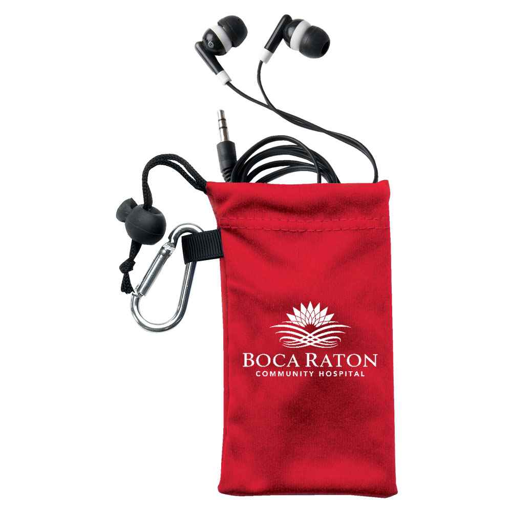 Ear Buds In Red Microfiber Pouch - Personalization Available