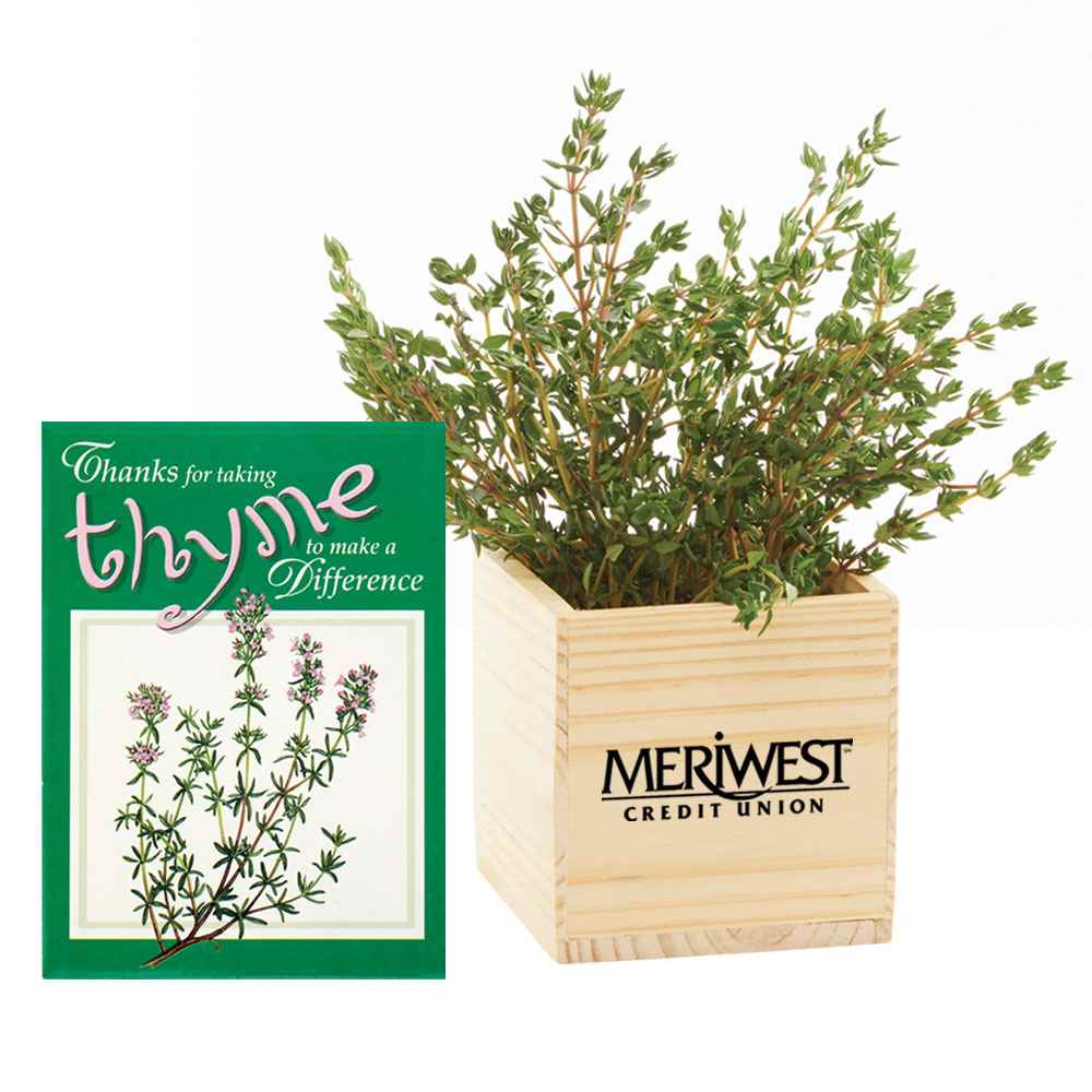 Wooden Planter Cube with Thyme - Personalization Available