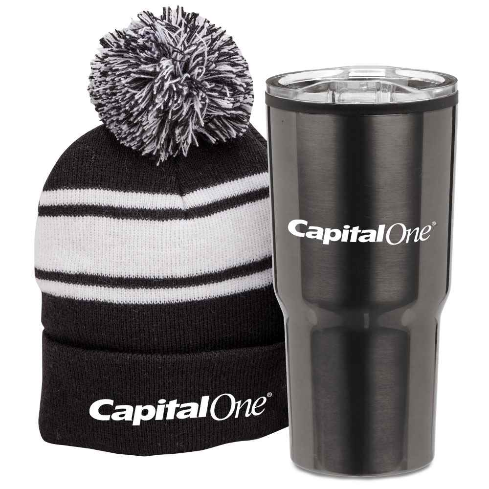38d0cb8001f Pom Pom Beanie   Tumbler Combo with Holiday Gift Sleeve ...