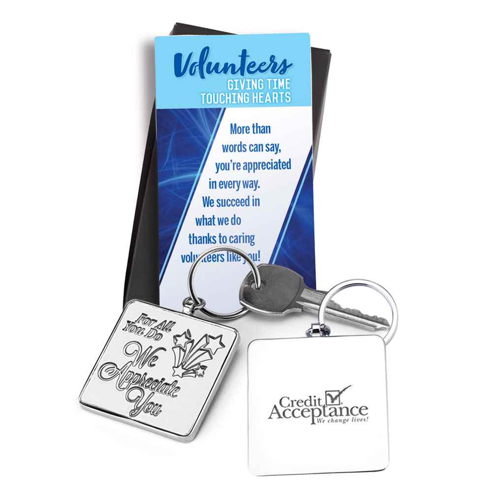 For All You Do We Appreciate You Volunteers Metal Key Tag - Personalization Available