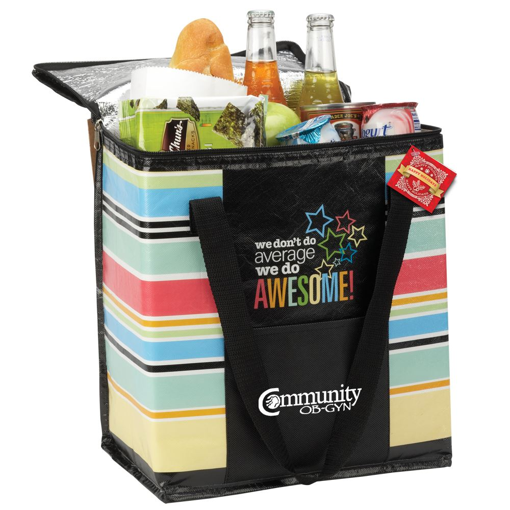 We Don't Do Average, We Do Awesome! Laminated Non-Woven Insulated Shopper Tote with Holiday Gift Card - Personalization Available