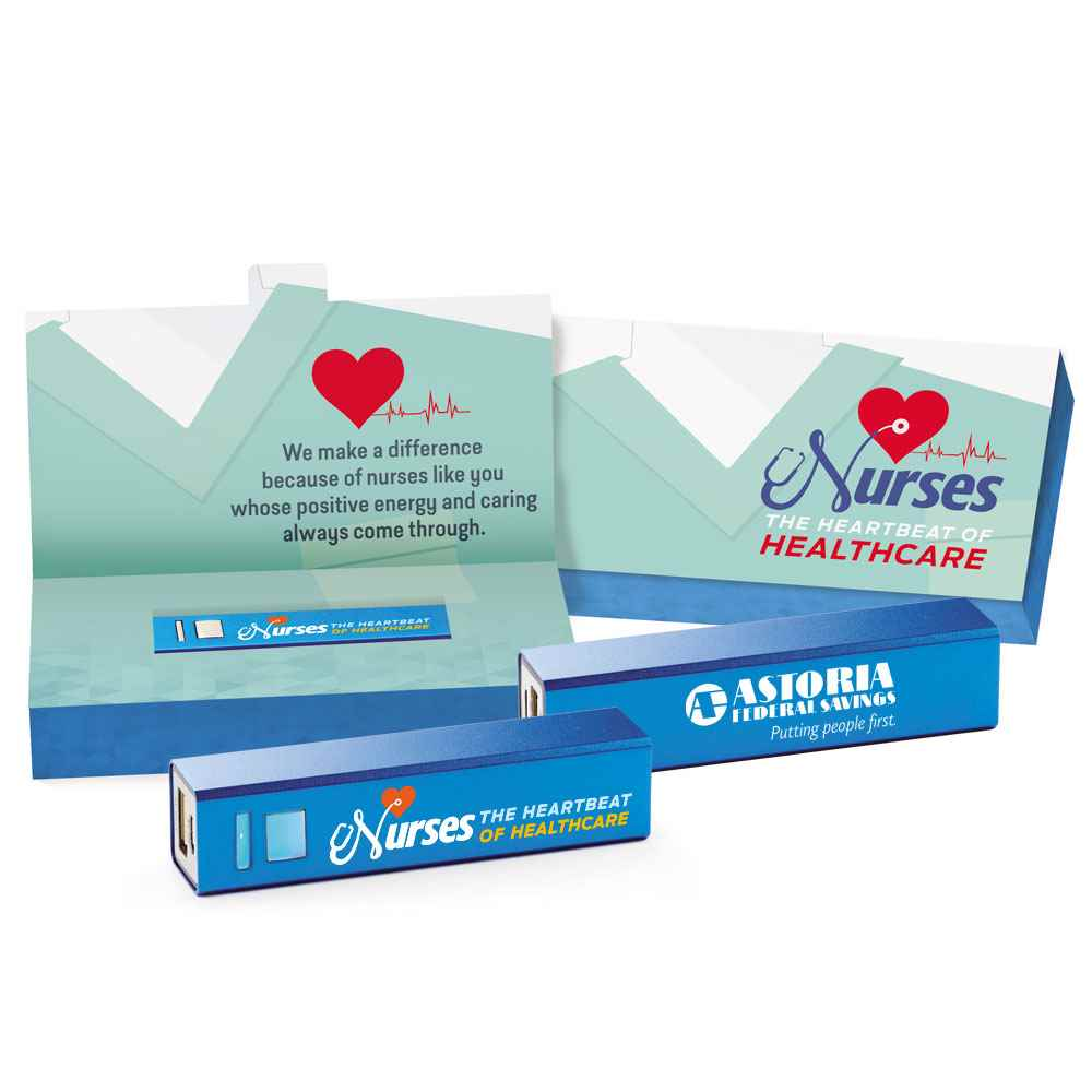 Nurses: The Heartbeat Of Healthcare Power Bank with Nurses Gift Box - Personalization Avaialble