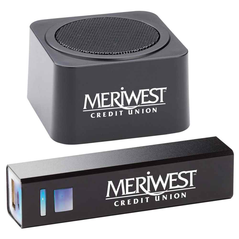 Black Bluetooth® Speaker & Metal Power Bank GIft Set