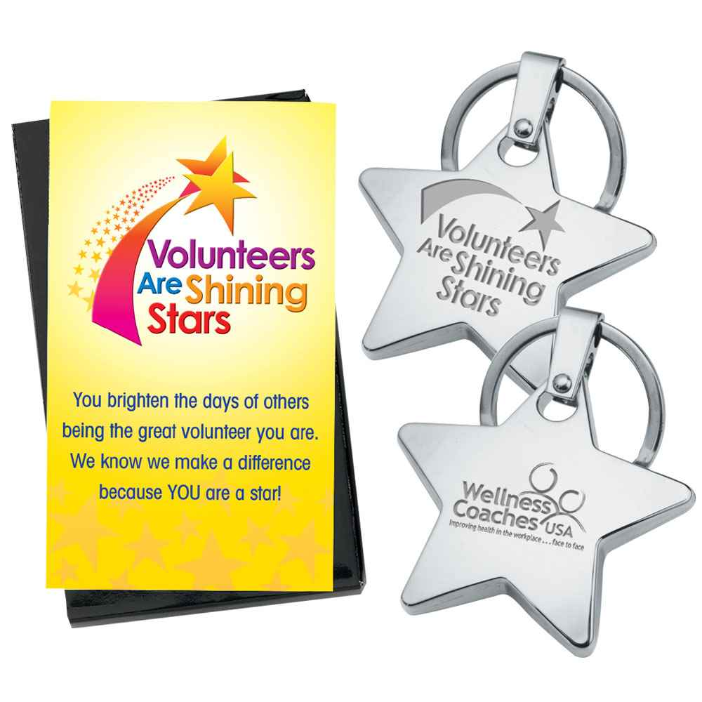 Volunteers Metal Star Key Tag with Keepsake Card - Personalization Available
