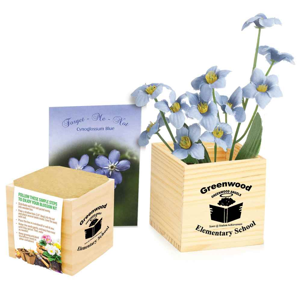 Wooden Flowerpot Cube with Forget-Me-Not - Personalization Available