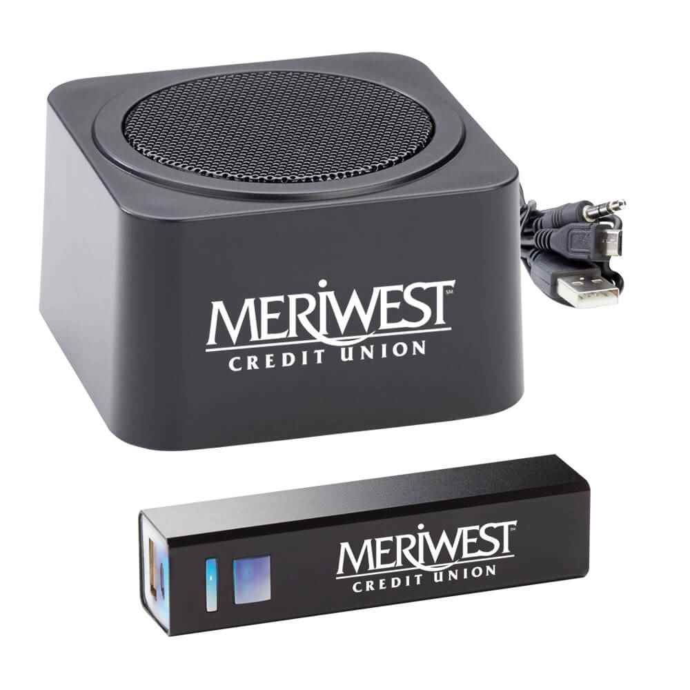 Black Bluetooth® Speaker & Metal Power Bank Gift Set - Personalization Available