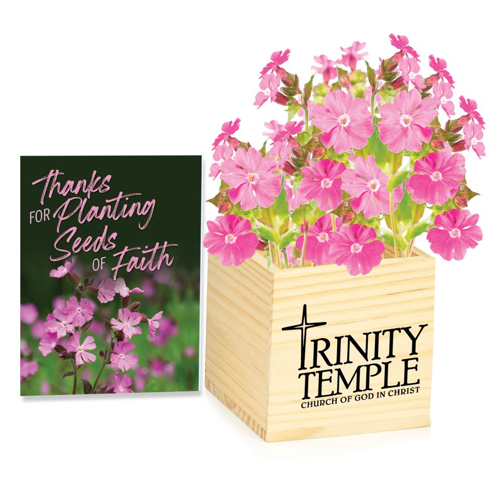 Wooden Flowerpot Cube with Mothers Plant The Seeds of Love Seed Packet - Personalization Available