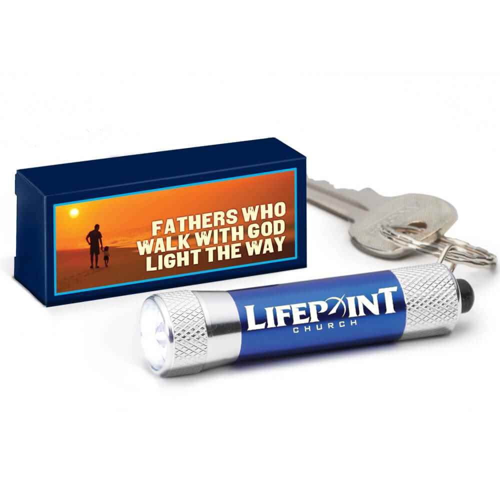 LED Aluminum Flashlight Key Tag in Fathers Who Walk With God Light The Way Gift Box - Personalization Available