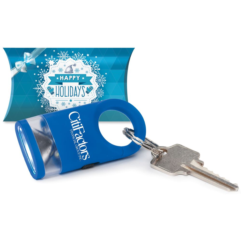 Blue LED Carabiner Flashlight Lamp in Holiday Gift Box - Personalization Available