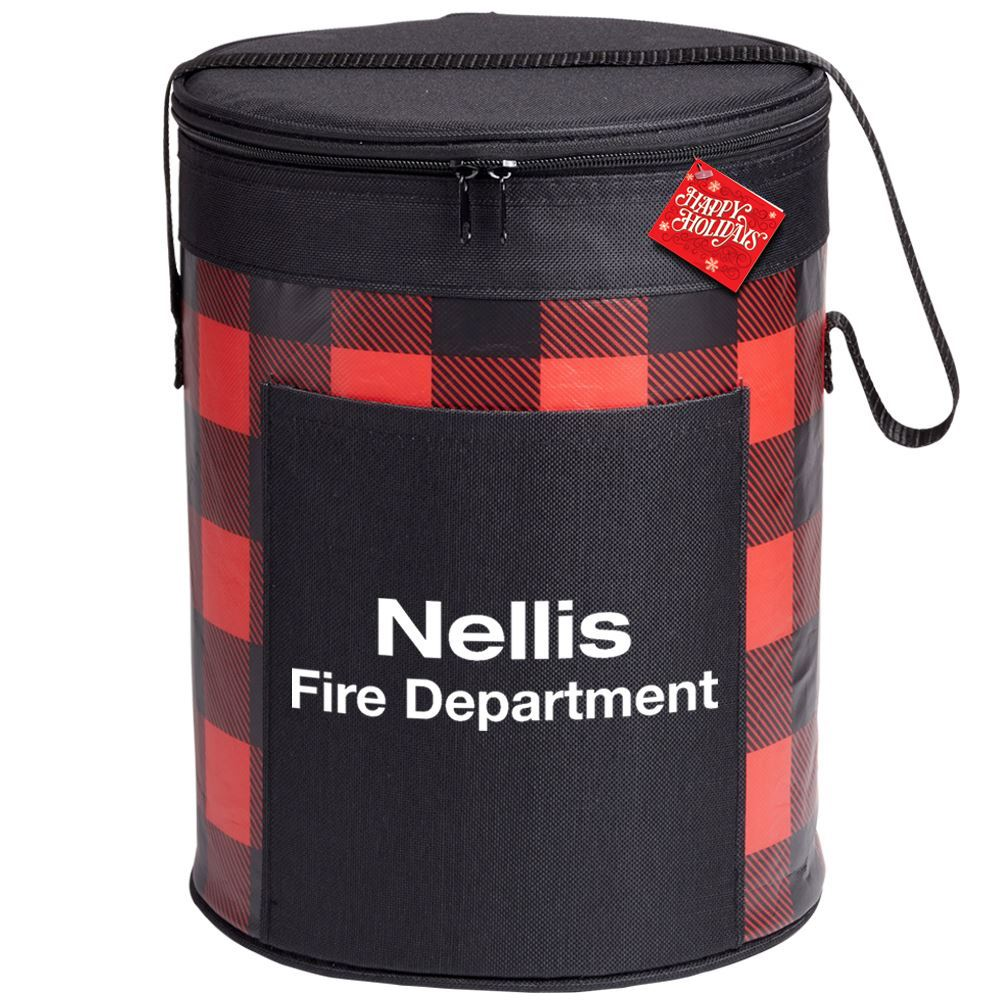 Buffalo Plaid Barrel Cooler Bag with Holiday Gift Card - Personalization Available