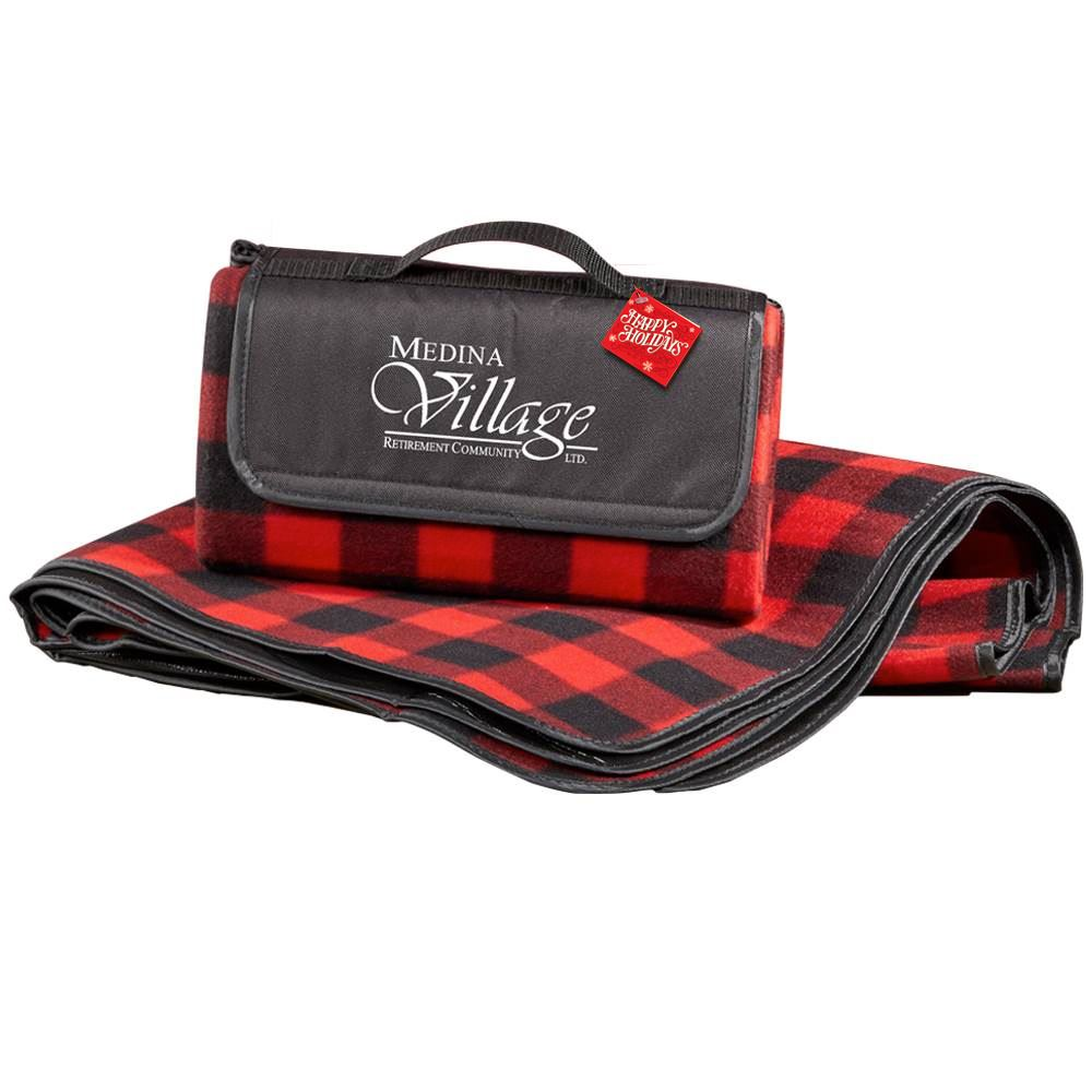 Buffalo Plaid Fleece Picnic Blanket With Holiday Gift Card - Personalization Available