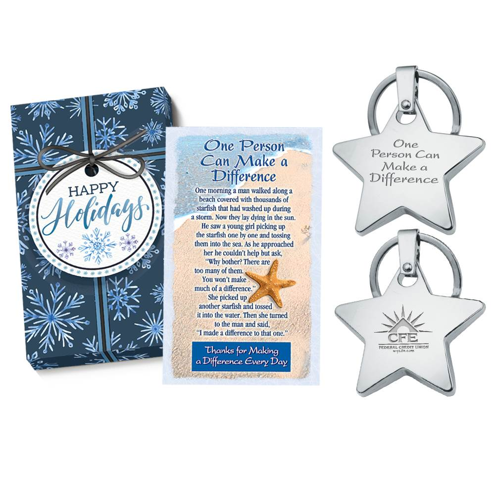 One Person Can Make A Difference Star Key Tag Gift Set with Holiday Gift Box Plus Personalization