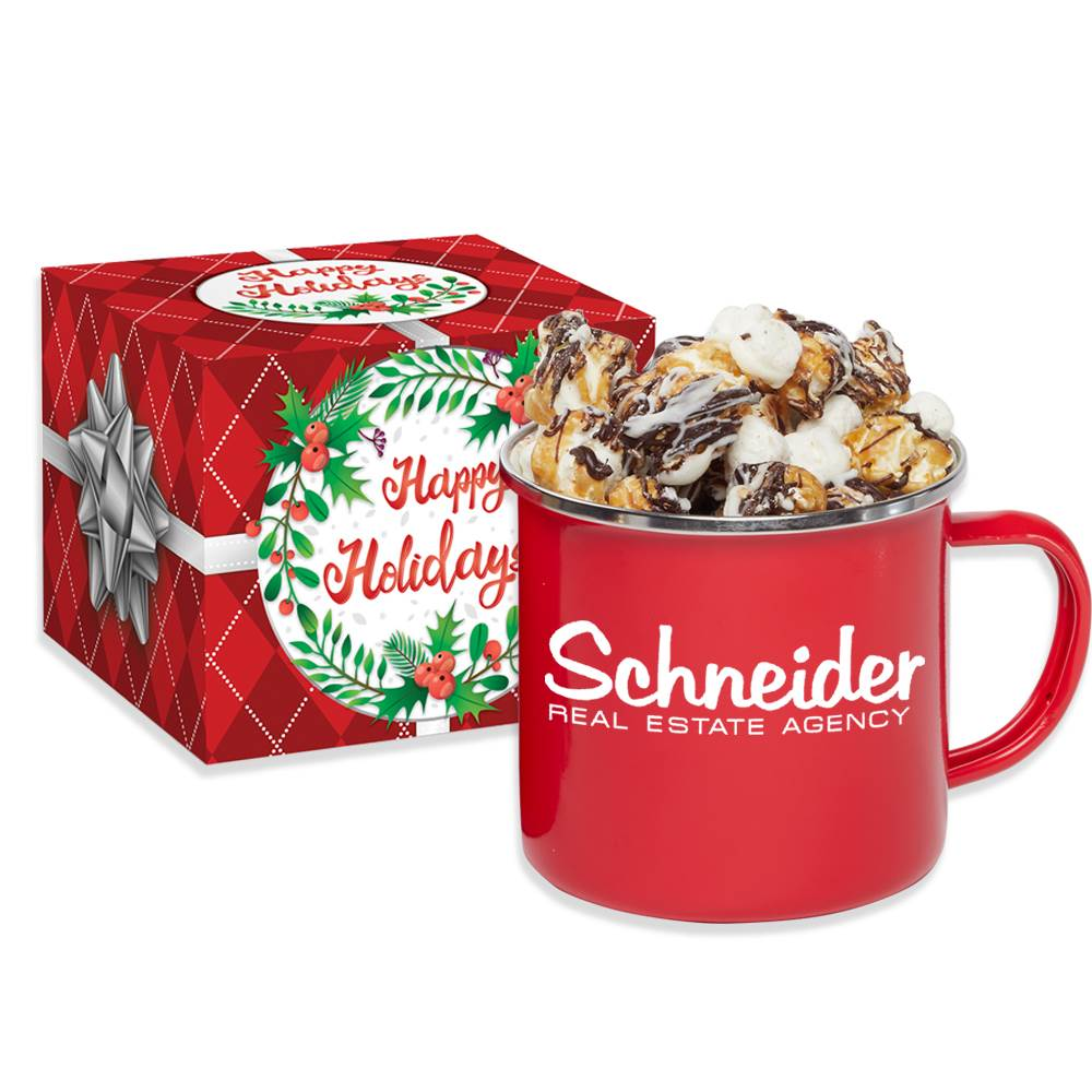 Campfire Mug 16-Oz. With S'Mores Popcorn in Holiday Gift Box - Personalization Available