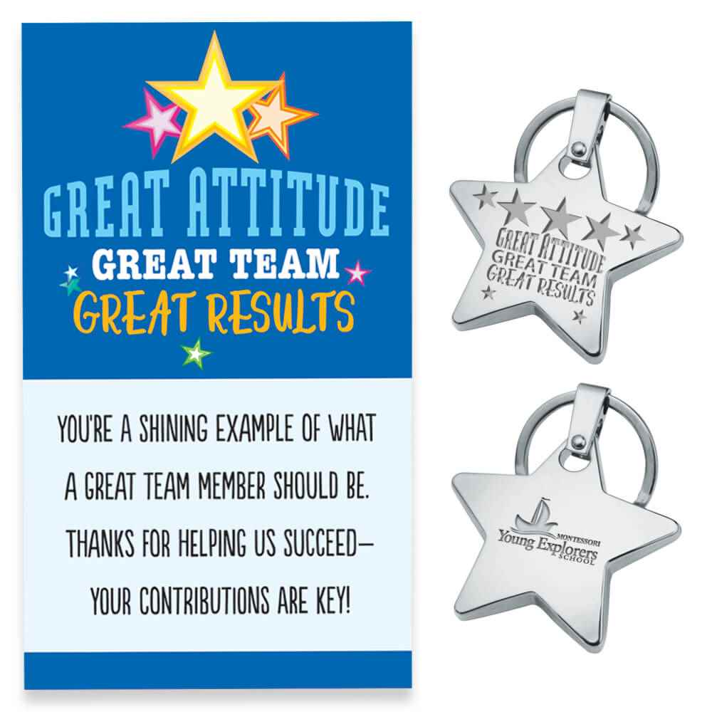 Great Attitude, Great Team, Great Results Star Key Tag With Keepsake Card Plus Personalization
