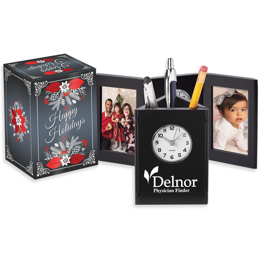 Tri-Fold Frame Clock & Caddy in Holiday Gift Box - Personalization Available