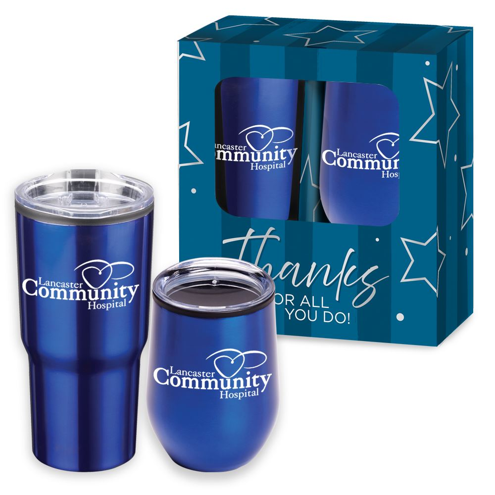 Warm Up & Chill Out Blue Drinkware 2-Piece Gift Set - Personalization Available
