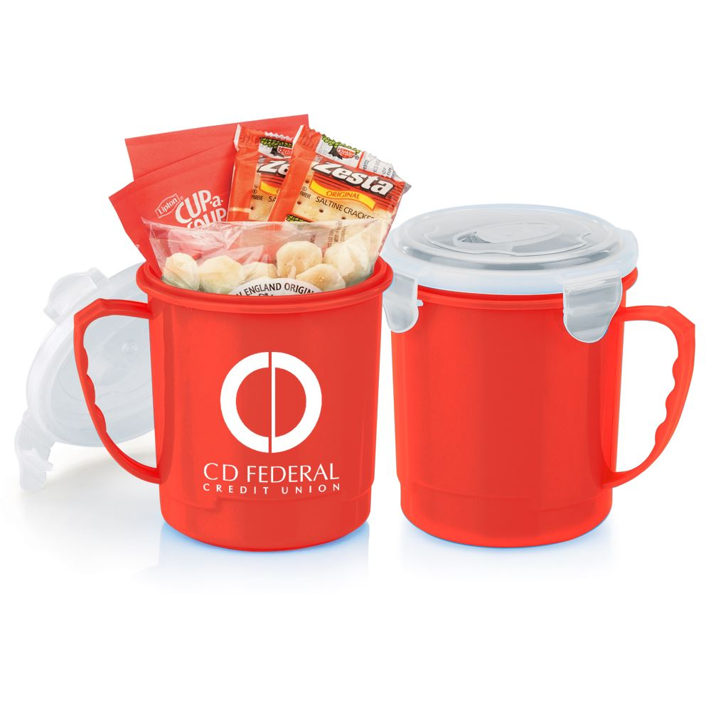 Red Soup Mug 24-Oz. Gift Set With Locking Lid - Personalization Available