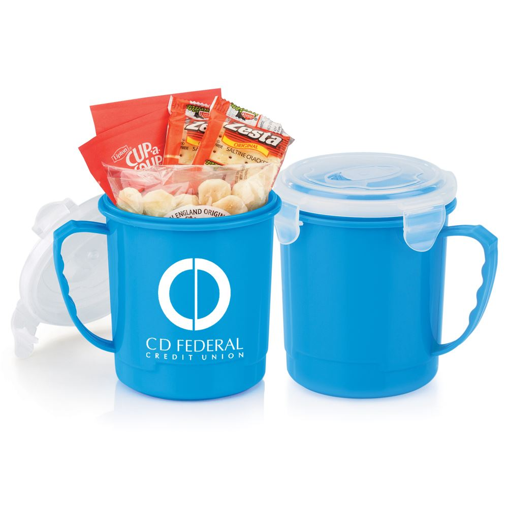 Blue Soup Mug 24-Oz. Gift Set With Locking Lid - Personalization Available