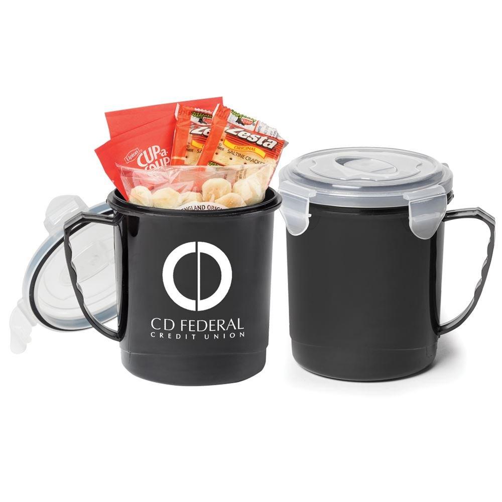 Black Soup Mug 24-Oz. Gift Set With Locking Lid - Personalization Available