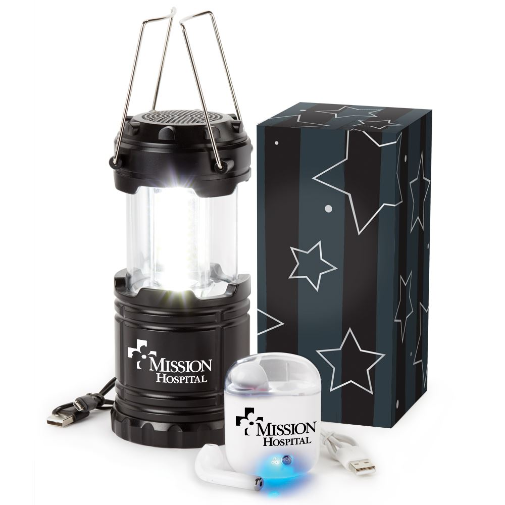 Bluetooth® Lantern Speaker & Wireless Earbuds 2-In-1 Gift Set - Personalization Available