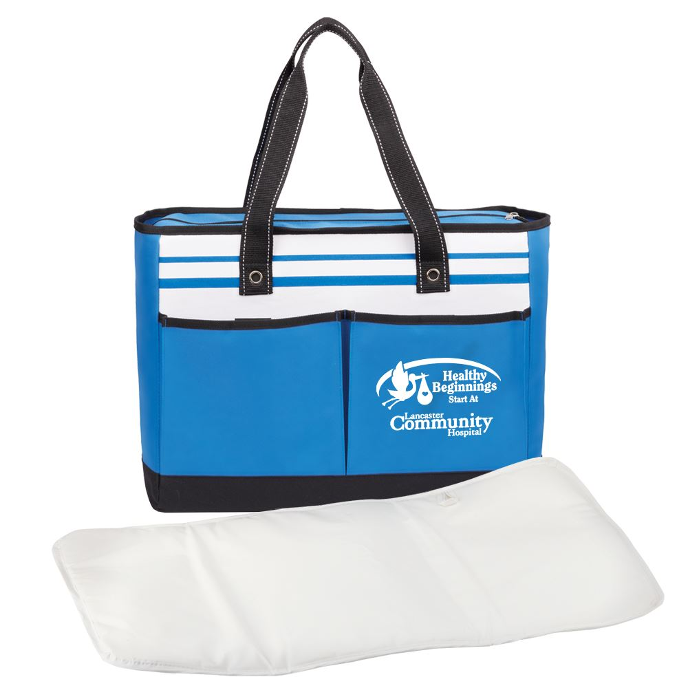 Traveler Two-Pocket Blue Tote Bag with Changing Pad - Personalization Available
