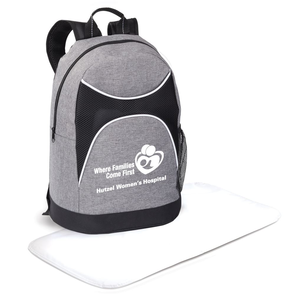 Highland Backpack-Style Gray/Black Diaper with Changing Pad - Personalization Available