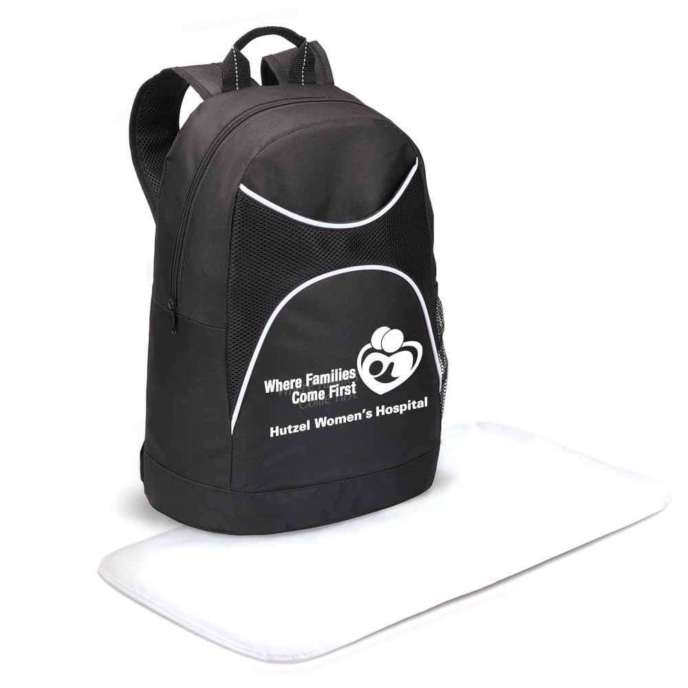 Highland Backpack-Style Black Diaper Bag with Changing Pad - Personalization Available