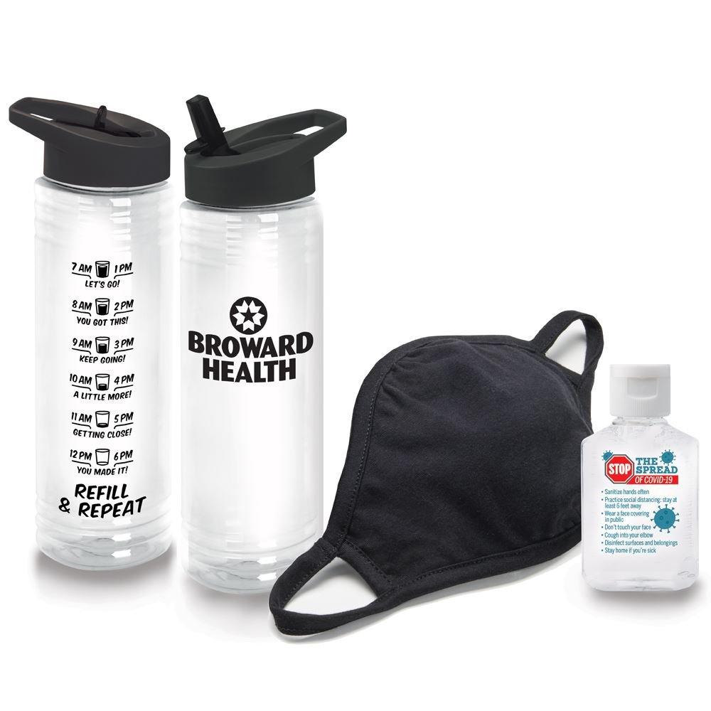 Wellness Essentials Water Bottle, Mask & Sanitizer Kit