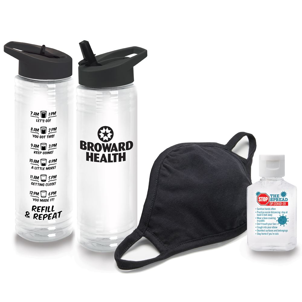 Wellness Essentials Water Bottle, Mask & Sanitizer Kit - Personalization Available
