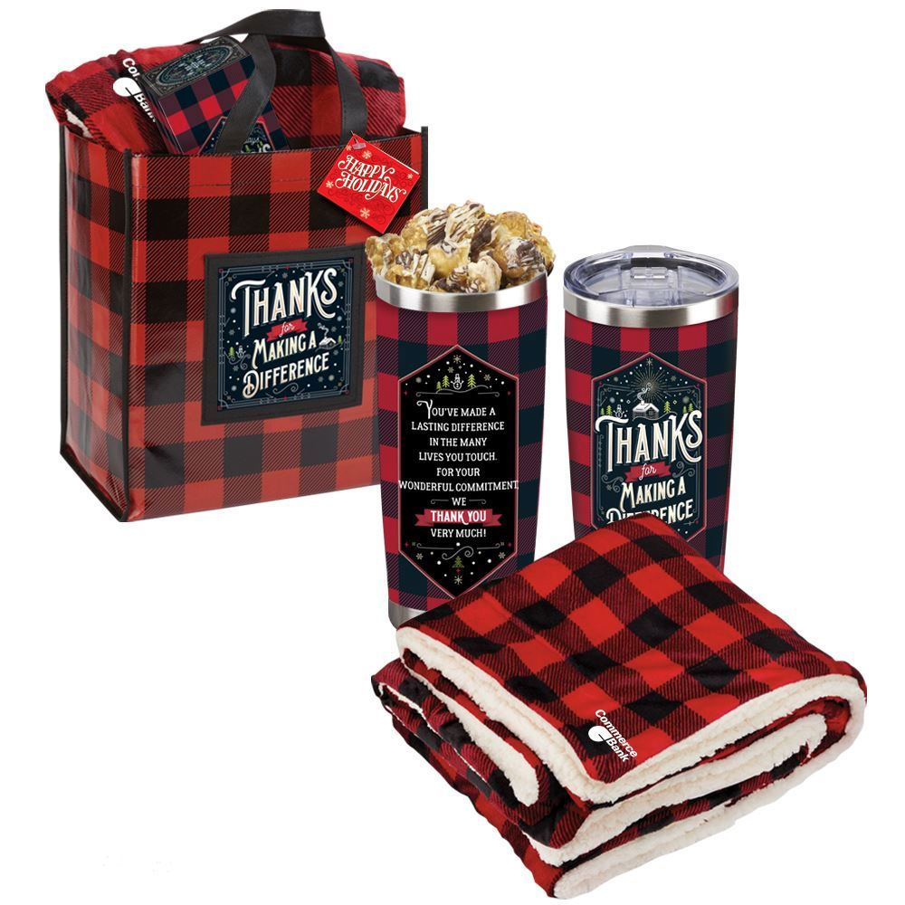 Thanks For Making A Difference Buffalo Plaid Blanket With Tote & Tumbler With Gourmet Popcorn Gift Set And Holiday Gift Card - Personalization Available