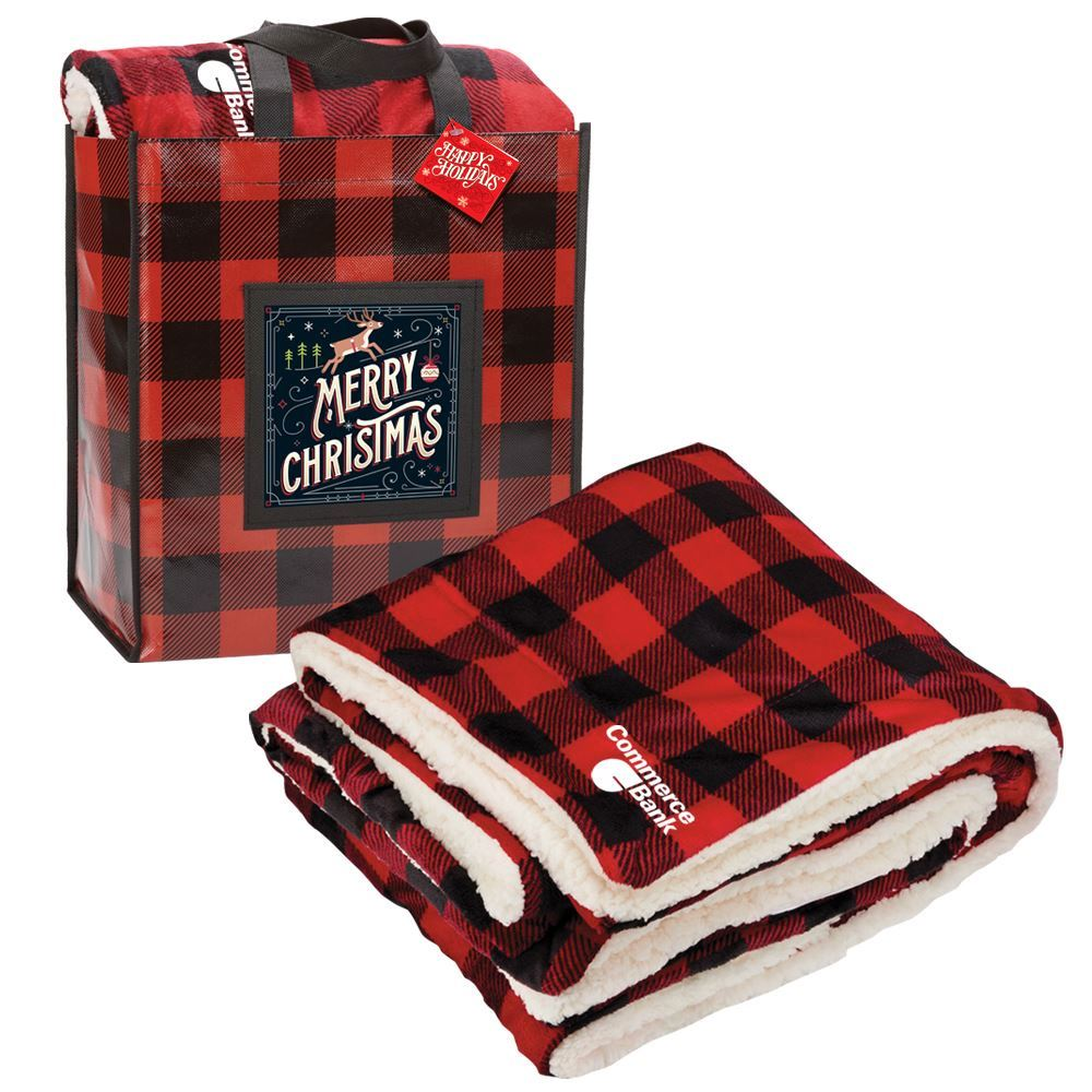 Buffalo Plaid Mink Sherpa Blanket & Laminated Tote Gift Set With Holiday Gift Card - Personalization Available