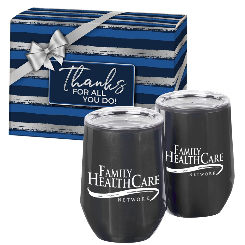 Cheers 2-Piece Gunmetal Stainless Steel Tumbler Set With Gift Box - Personalization Available