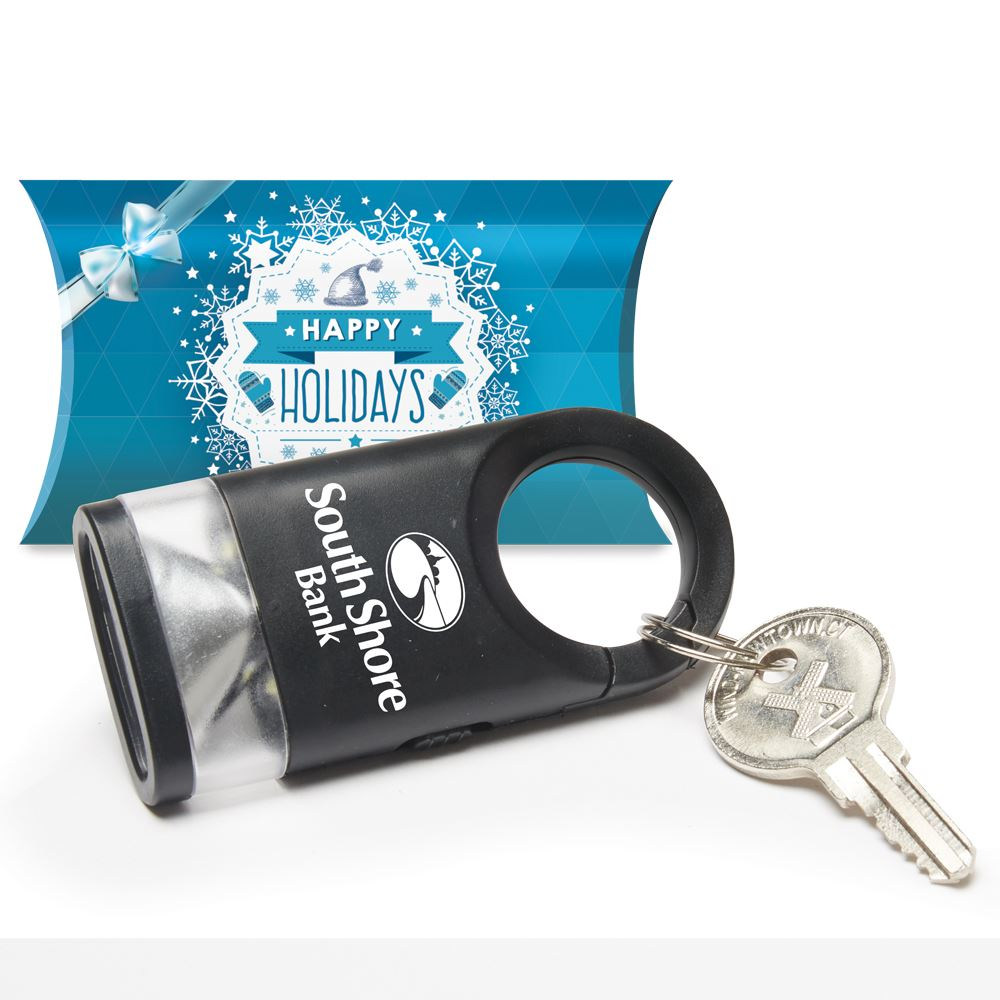 Black LED Carabiner Flashlight Lamp in Holiday Gift Box - Personalization Available