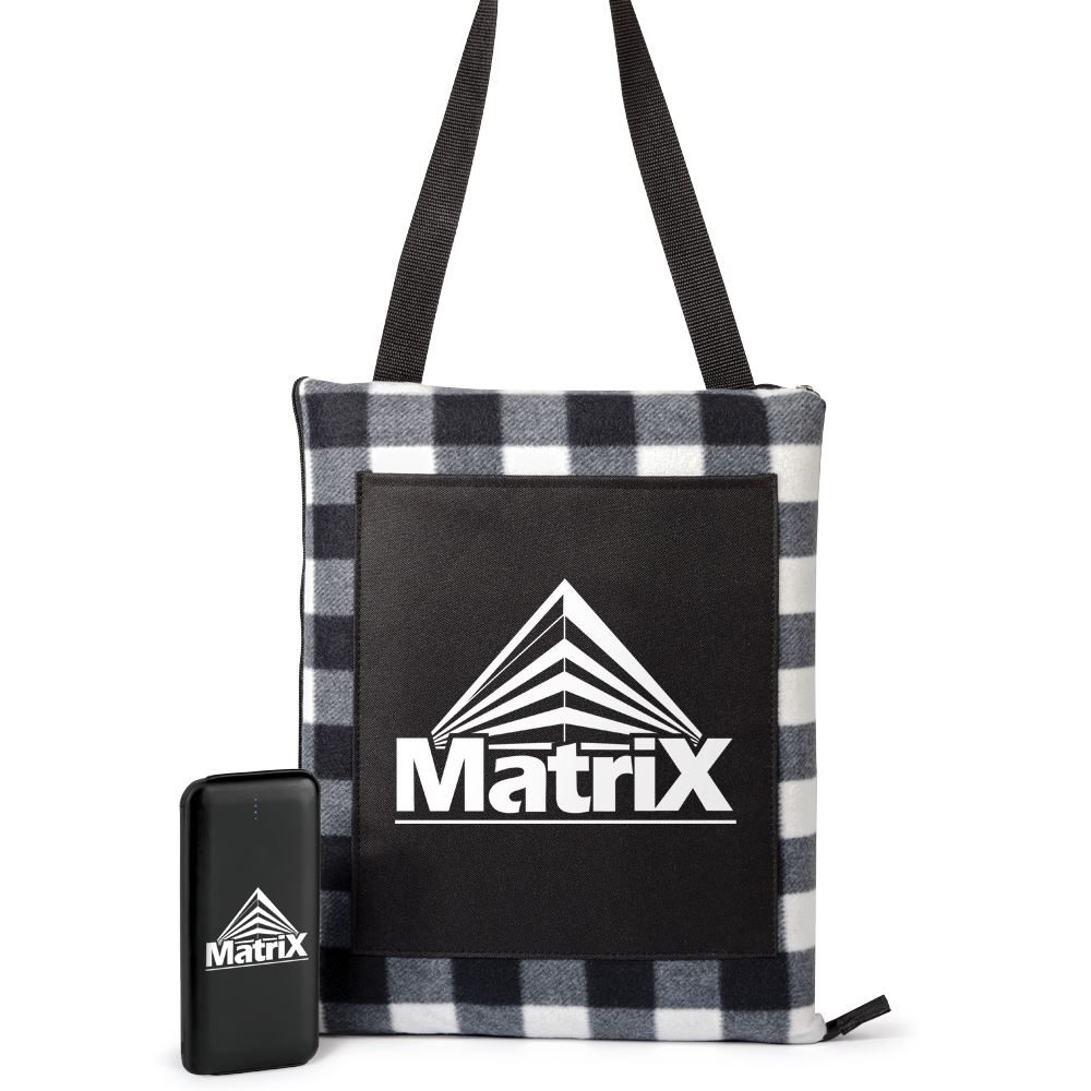 2-In-1 Picnic Blanket/Cushion Tote & Power-Up 5,000 mAh Power Bank Gift Set - Personalization Available