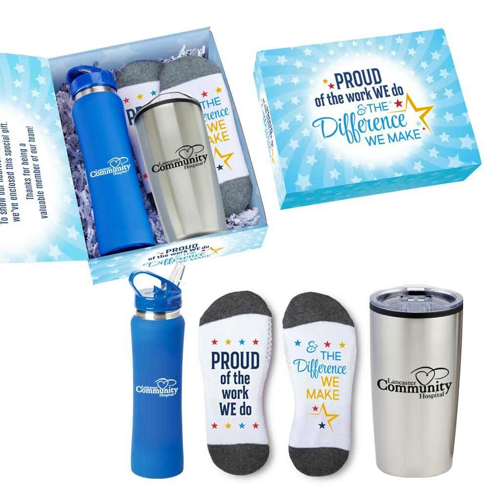 Proud Of The Work We Do & The Difference We Make 3-Piece Employee Care Kit With Appreciation Card- Personalization Available
