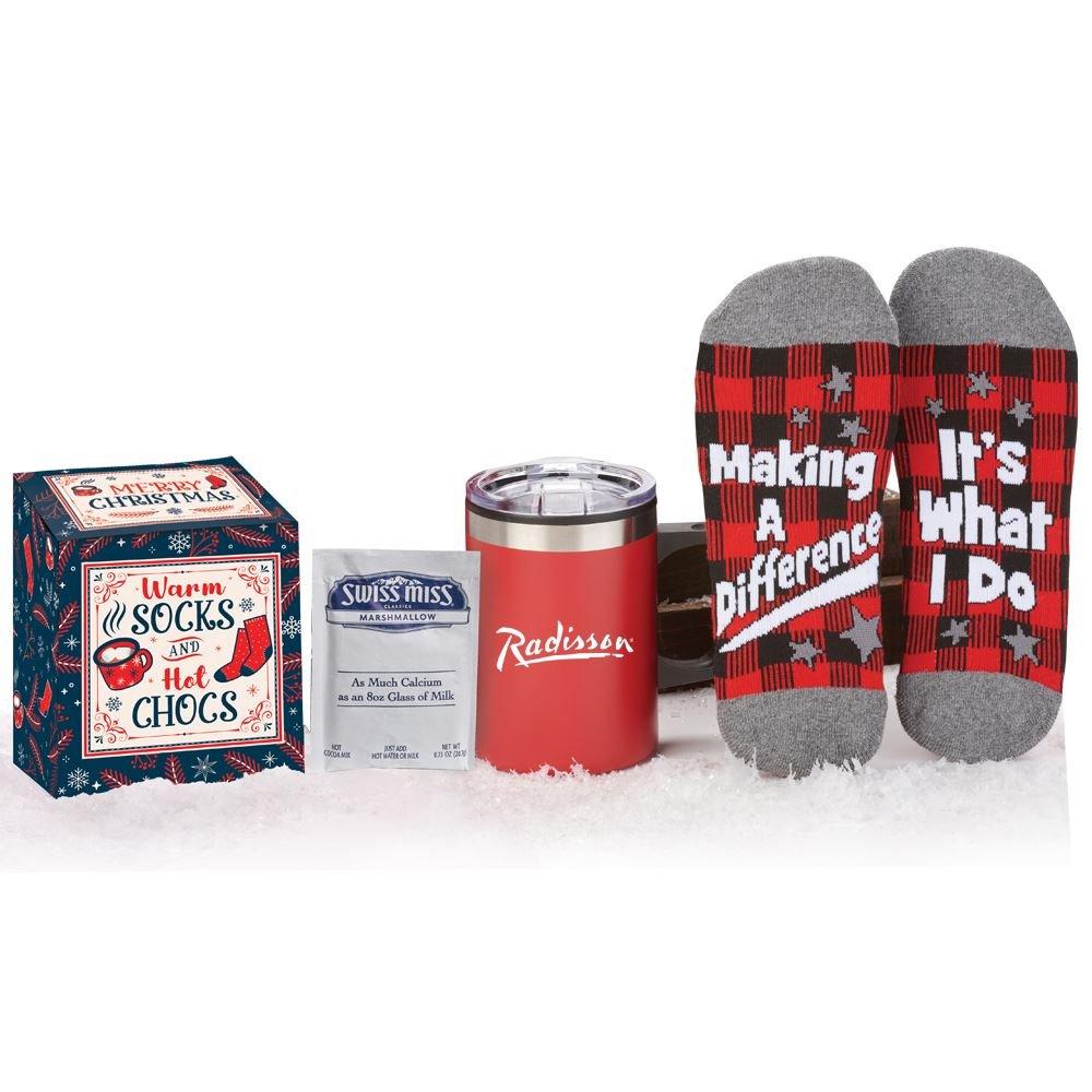 Sonoma Mug, Buffalo Plaid Socks, & Hot Chocolate GIft Set In Holiday Gift Box - Personalization Available