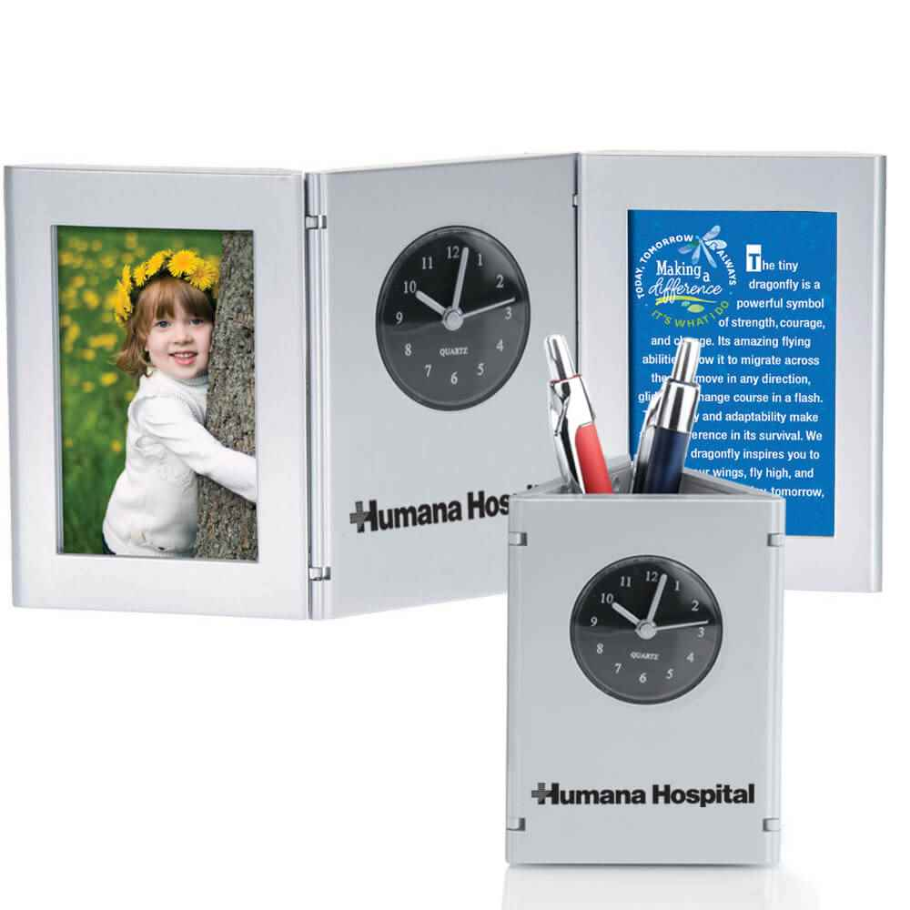 Tri-Fold Frame Clock & Caddy With Card - Personalization Available