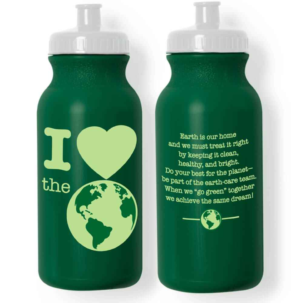 I (Heart) The Earth 100% Recycled Water Bottle 20-Oz. - Pack of 10