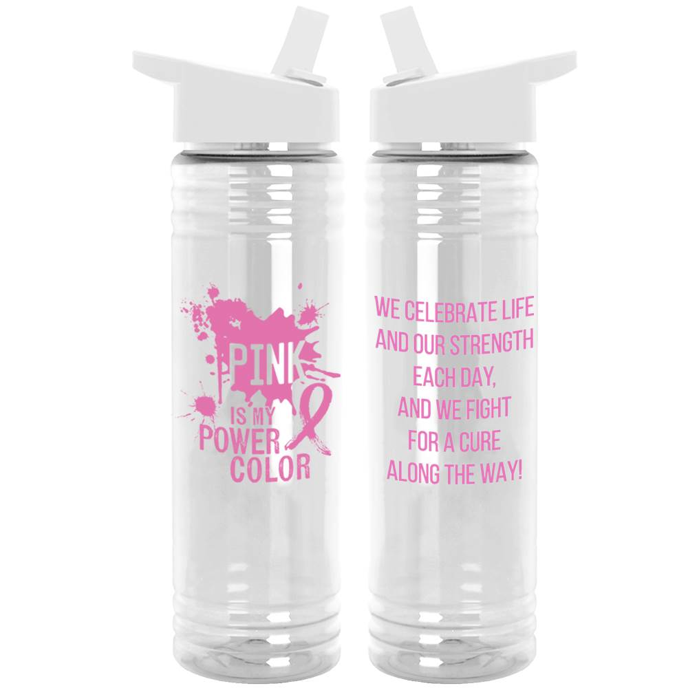 Pink Is My Power Color Water Bottle With White Sipper Lid 24-Oz.