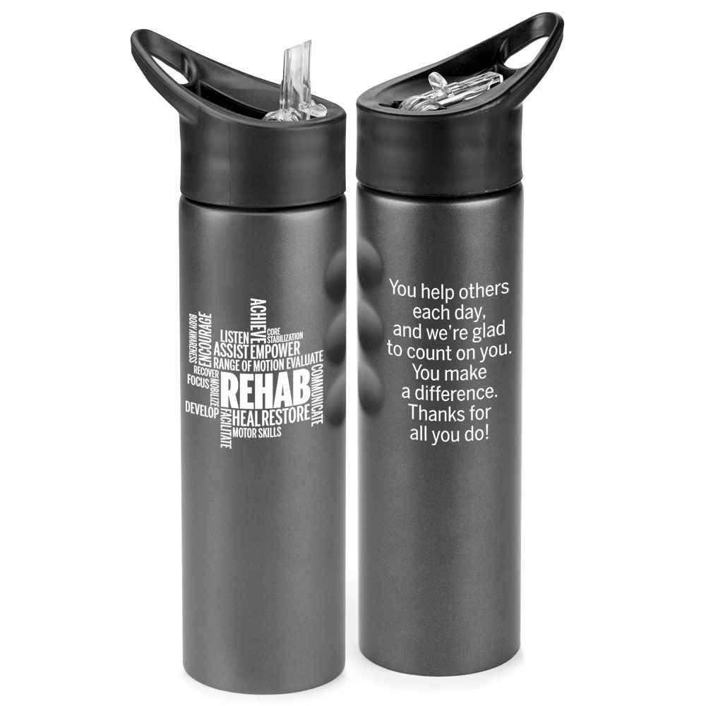 Rehab Word Cloud Essex Stainless Steel Water Bottle 25-Oz.