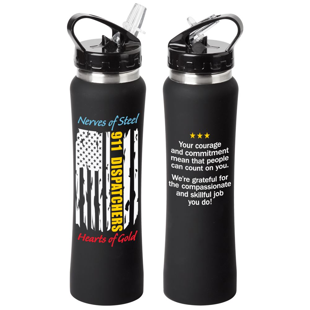 911 Dispatchers Nerves Of Steel Heart Of Gold Lakewood Stainless Steel Water Bottle 25-Oz.