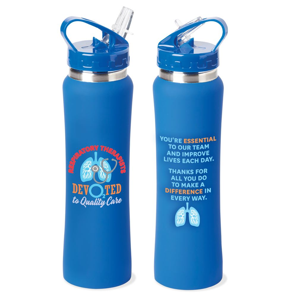 Respiratory Therapists: Devo2ted To Quality Care Lakewood Stainless Steel Water Bottle 25-Oz.