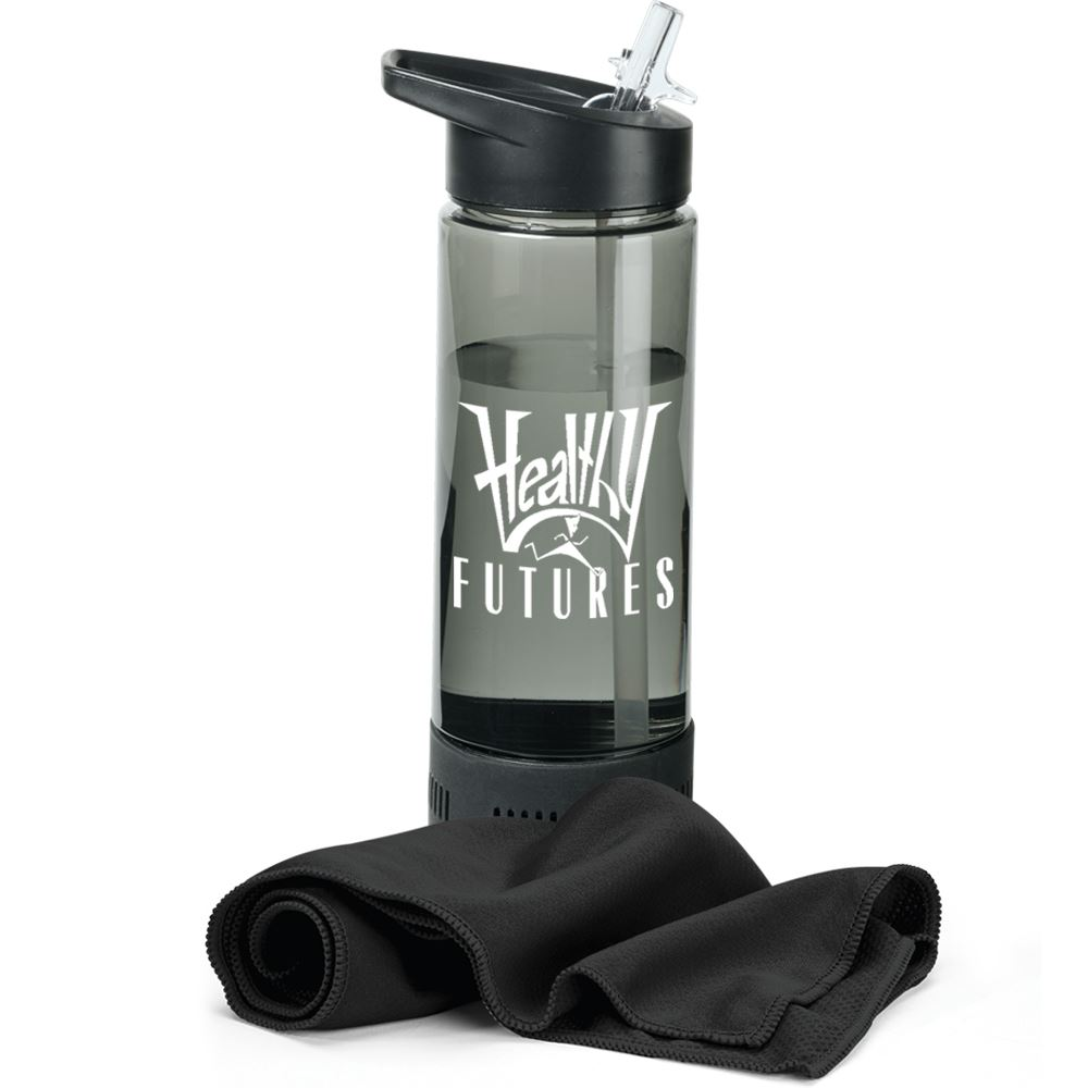 Black Chill Water Bottle 17-Oz. With Cooling Towel - Personalization Available