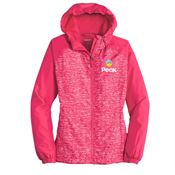Sport-Tek® Women's Heather Colorblock Raglan Hooded Wind Jacket - Personalization Available