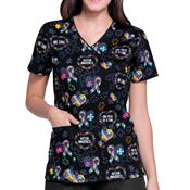 Cherokee® Women's Autism Awareness Ribbon Mock Wrap V-Neck Scrubs Top