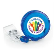 It Takes A Team To Make A Difference 4-Color Retractable Badge Holder