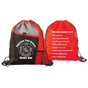 Practice Fire Safety Every Day Deluxe Drawstring Backpack With Fire Safety Tips